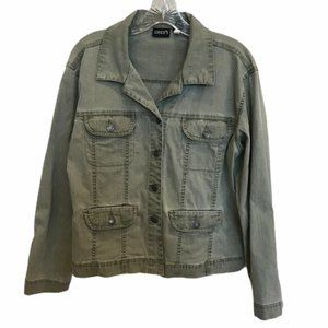 CHICOS Denim Jacket Arny Green Size Small VGUC